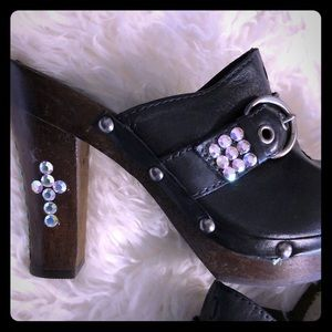CUSTOM BLING WOOD LEATHER CLOG HEELS SIZE 7